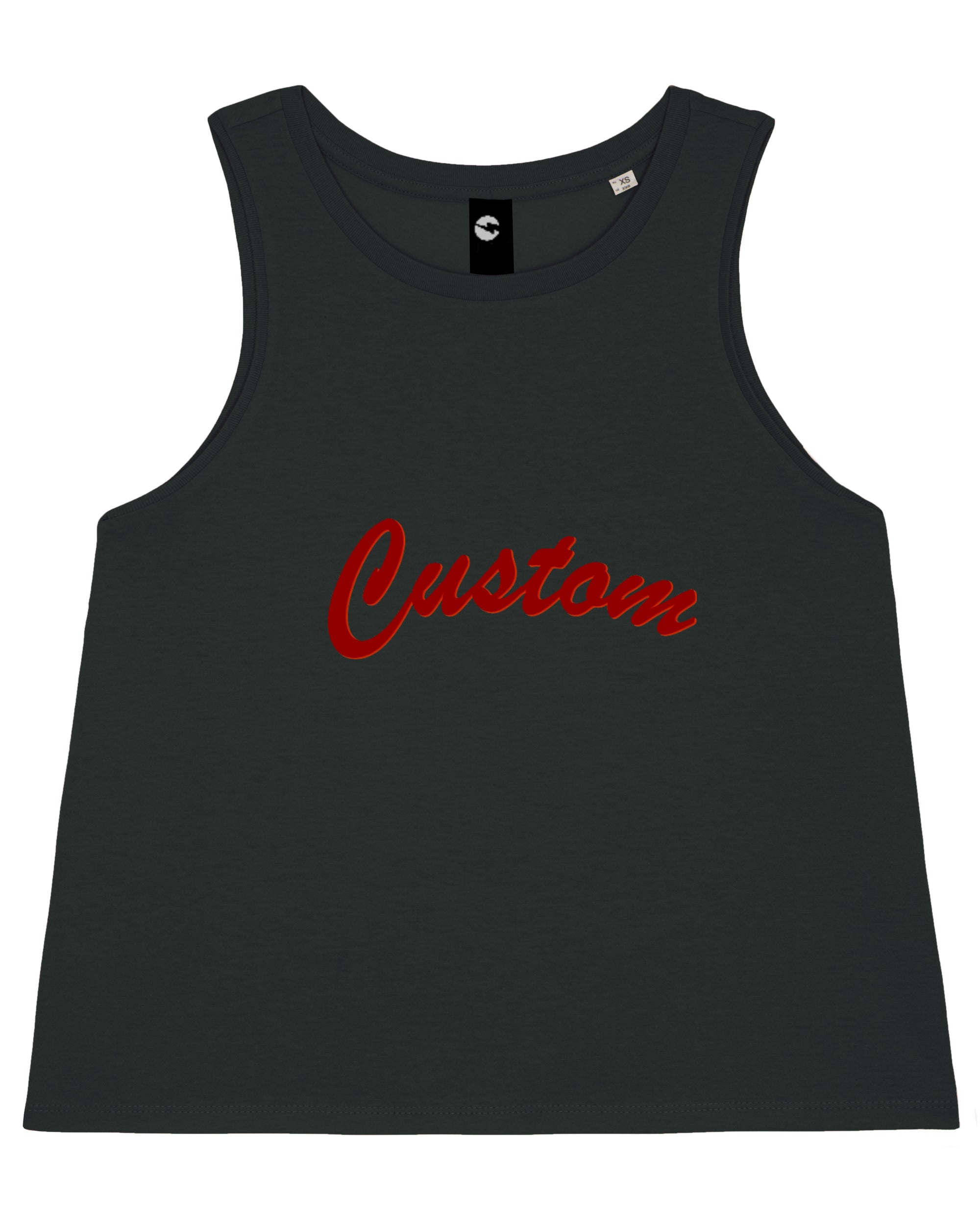 WOMEN'S CROPPED ORGANIC COTTON TANK TOP - customisable centre chest embroidery