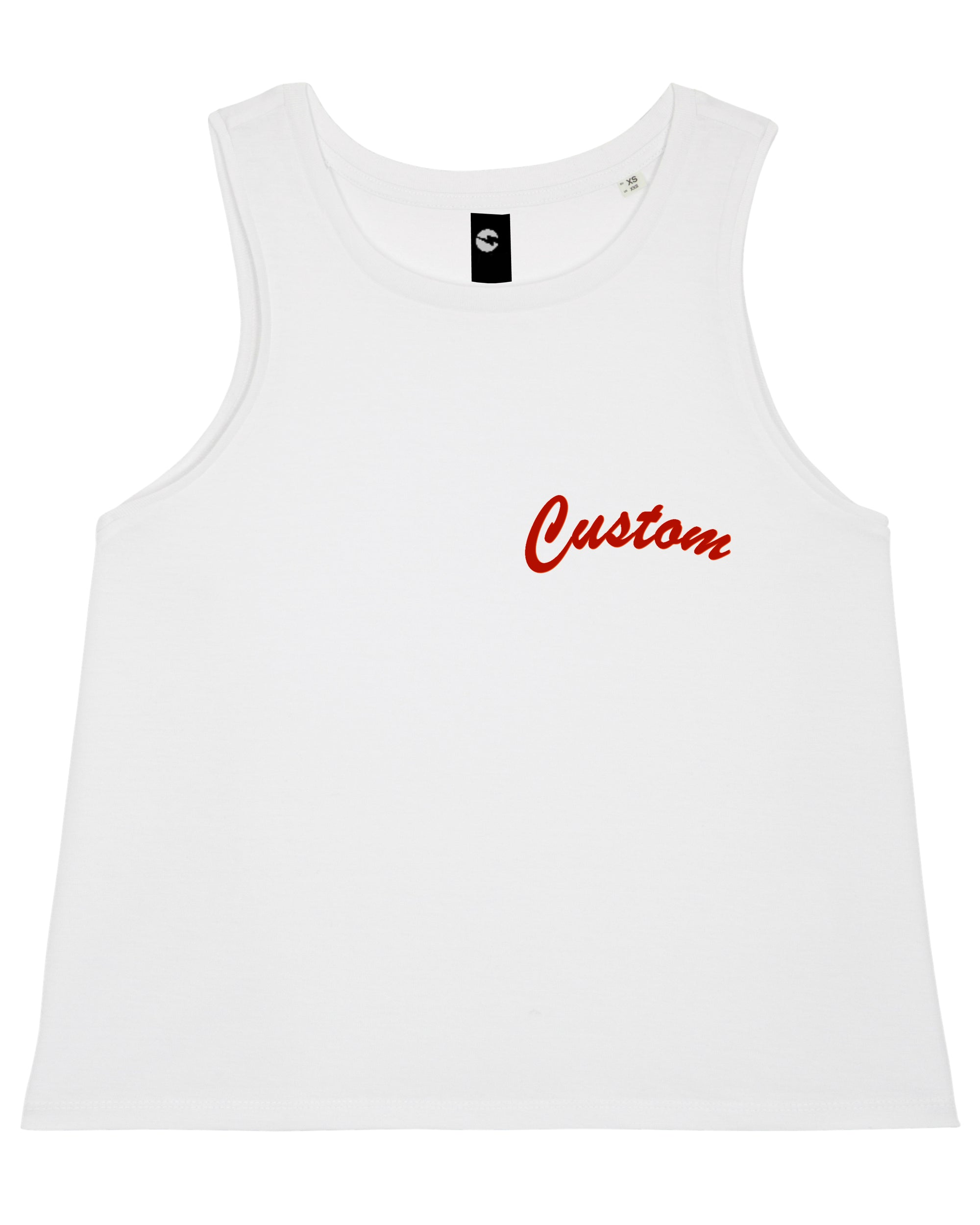 WOMEN'S CROPPED ORGANIC COTTON TANK TOP - customisable left chest embroidery