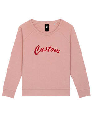 WOMEN'S RELAXED FIT ORGANIC COTTON SWEATSHIRT - customisable centre chest embroidery