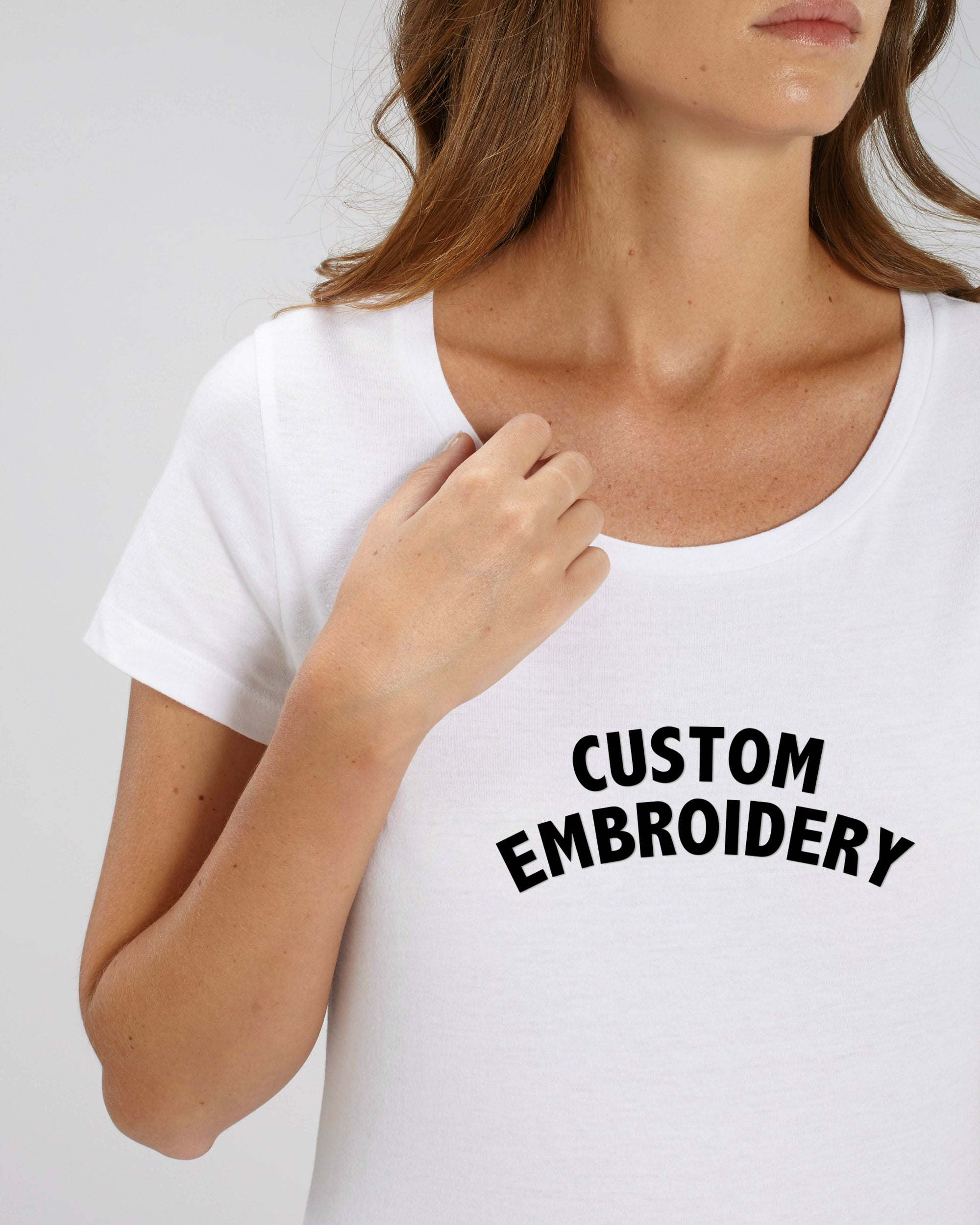 WOMEN'S MEDIUM FIT ORGANIC COTTON T-SHIRT - customisable centre chest embroidery