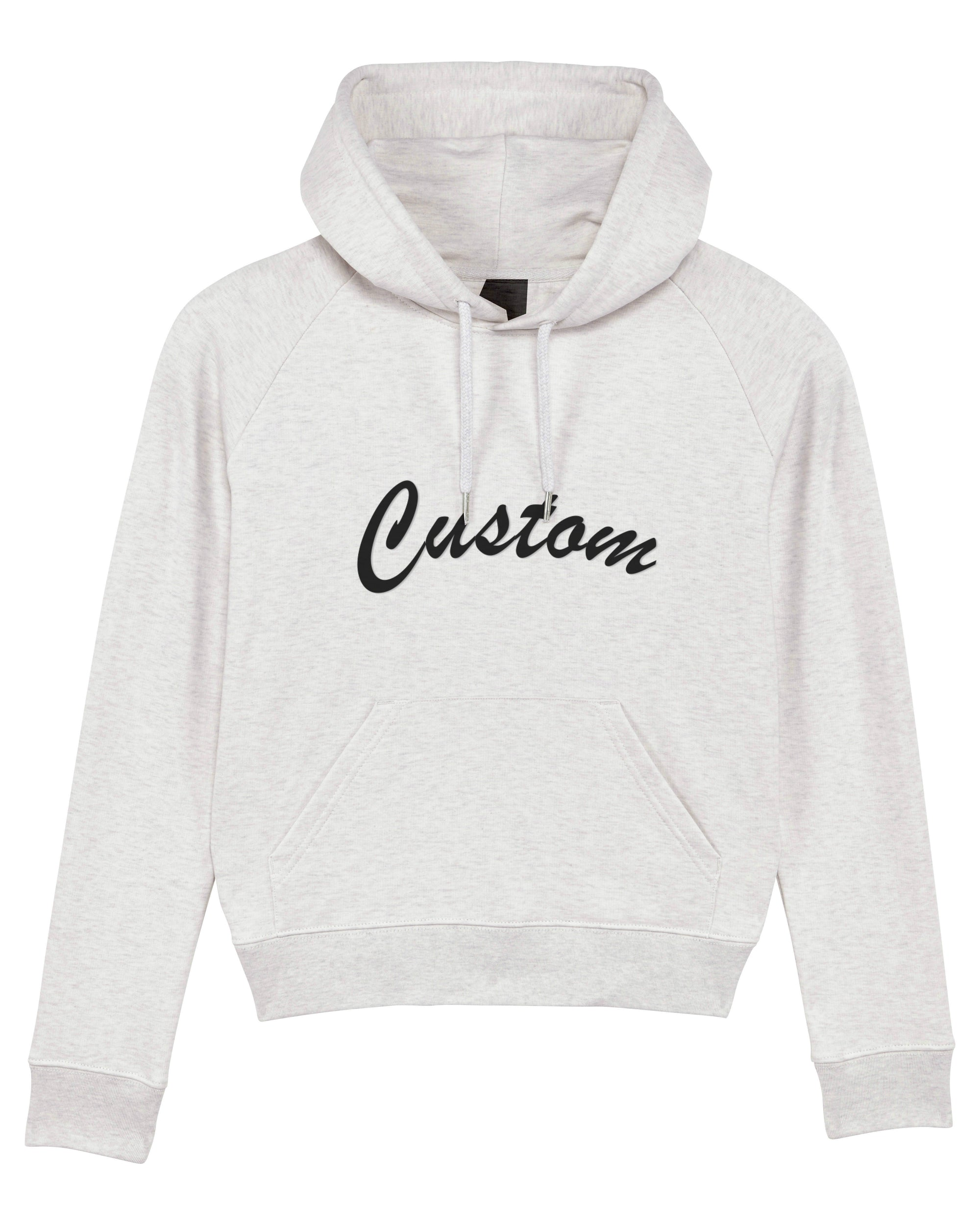 WOMEN'S MEDIUM FIT ORGANIC COTTON HOODIE - customisable centre chest embroidery