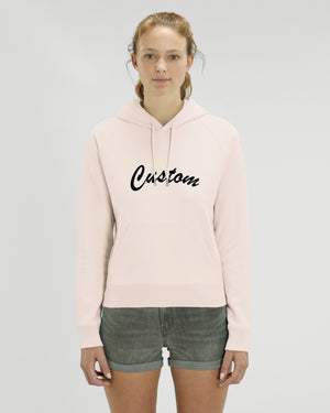 WOMEN'S MEDIUM FIT ORGANIC COTTON 'TRIGGER' HOODIE - customisable centre chest embroidery