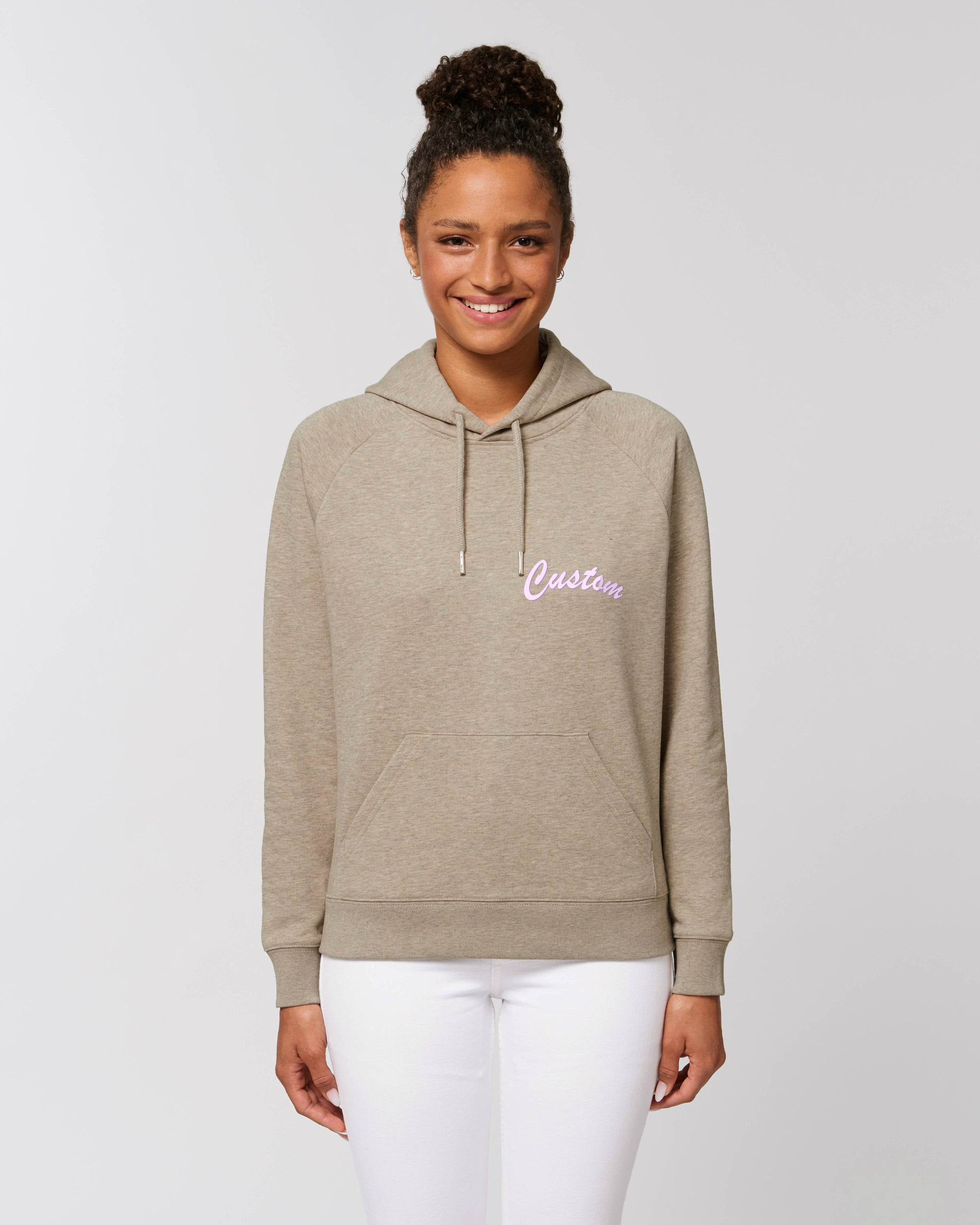WOMEN'S MEDIUM FIT ORGANIC COTTON HOODIE - customisable left chest embroidery
