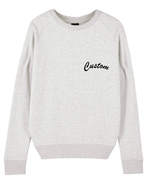 WOMEN'S ORGANIC COTTON CREW NECK TERRY SWEATSHIRT - customisable left chest embroidery