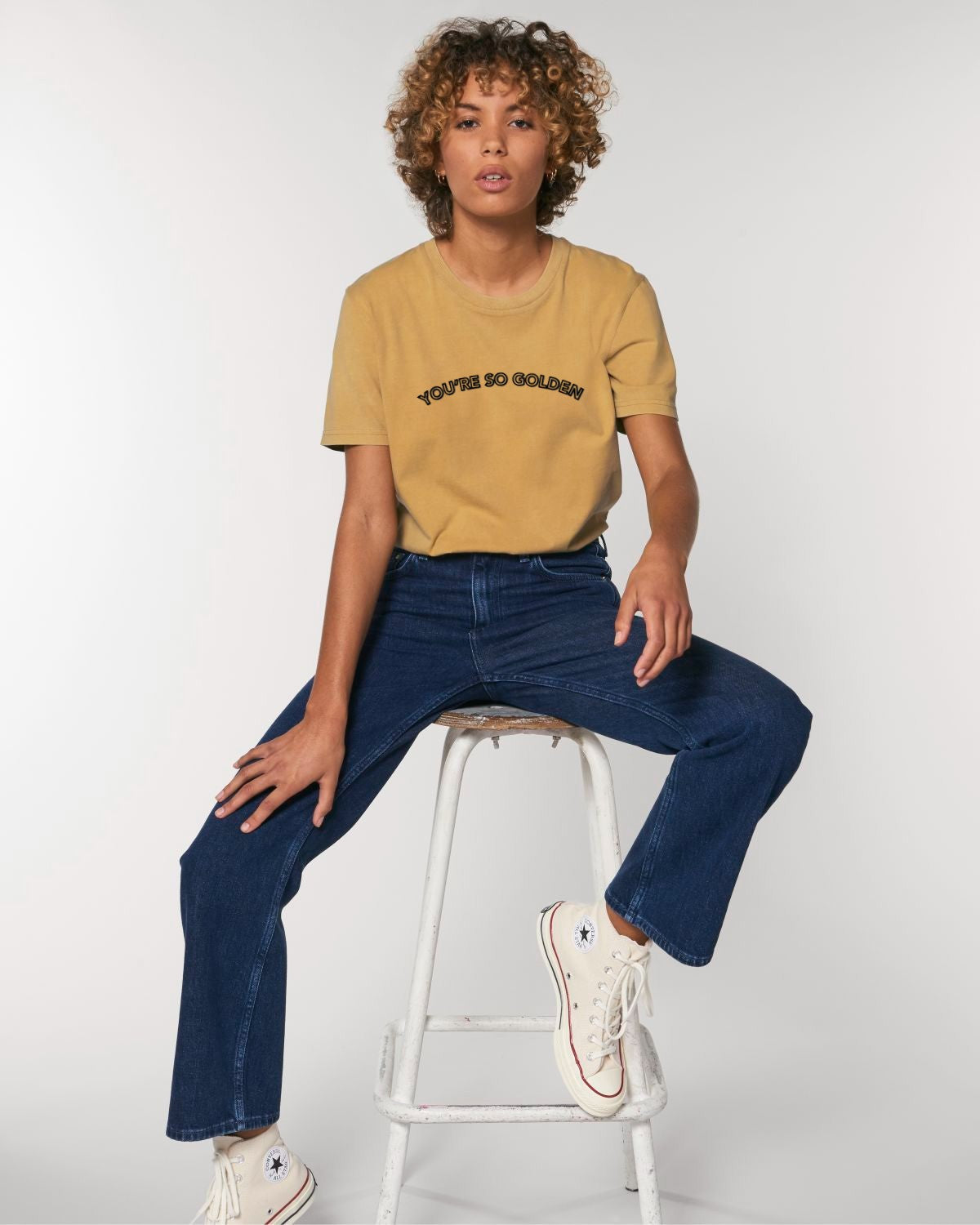 'YOU'RE SO GOLDEN' EMBROIDERED WOMEN'S GARMENT DYED ORGANIC COTTON 'CREATOR VINTAGE' T-SHIRT