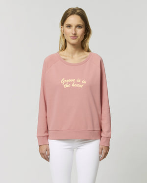 'GROOVE IS IN THE HEART' EMBROIDERED WOMEN'S RELAXED FIT ORGANIC COTTON SWEATSHIRT