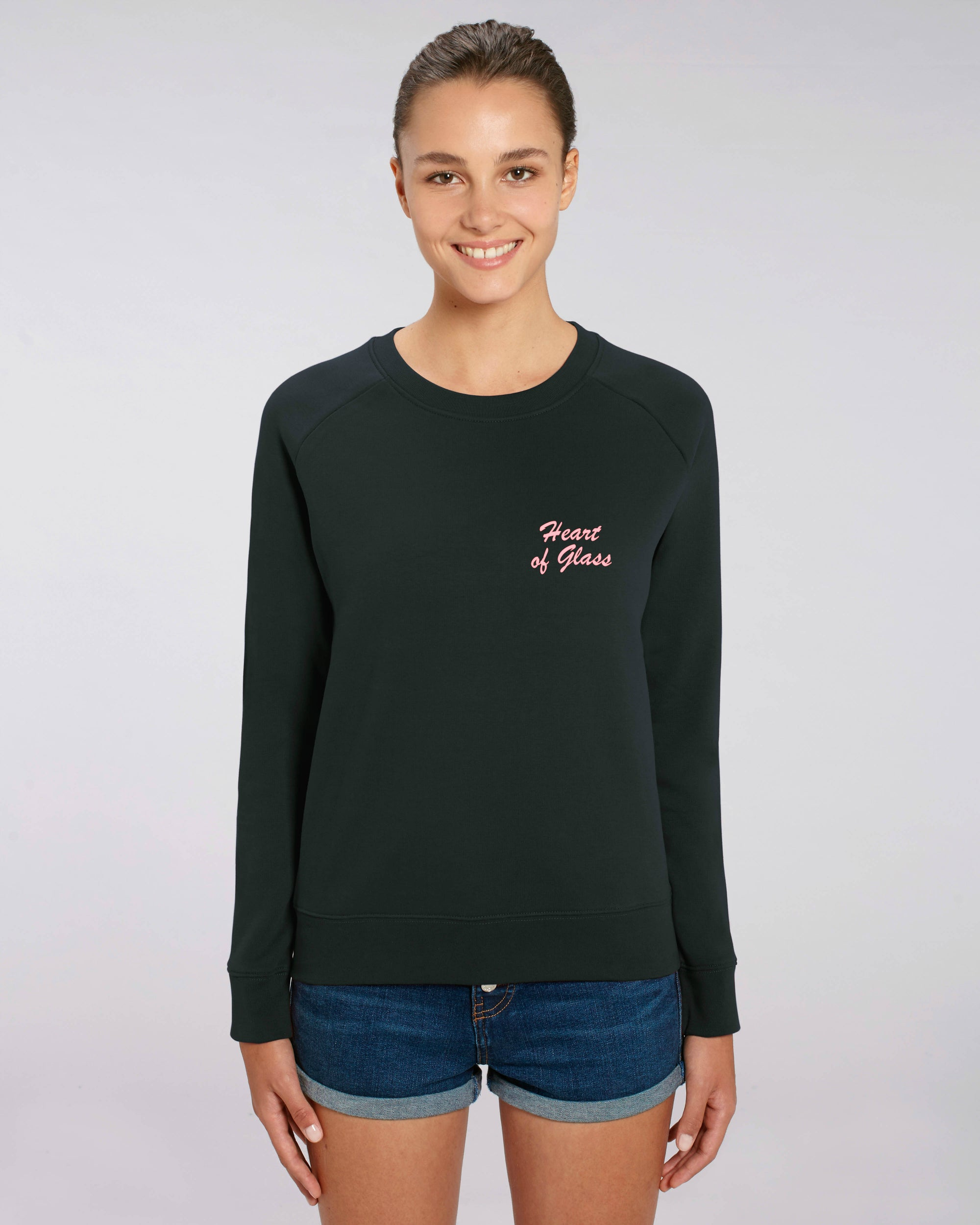 'HEART OF GLASS' LEFT CHEST EMBROIDERED WOMEN'S ORGANIC COTTON SWEATSHIRT