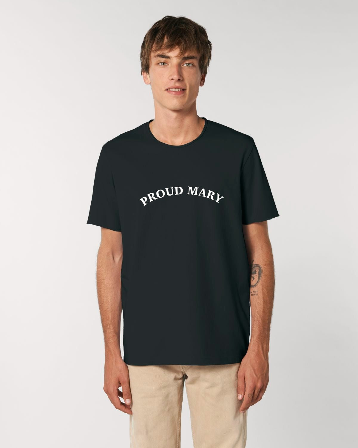 'PROUD MARY' EMBROIDERED MEN'S MEDIUM FIT RAW EDGE ORGANIC T-SHIRT