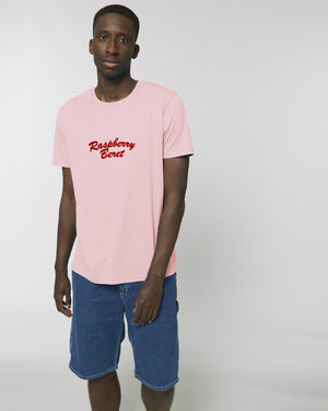 'RASPBERRY BERET' EMBROIDERED UNISEX MEDIUM FIT ORGANIC COTTON T-SHIRT