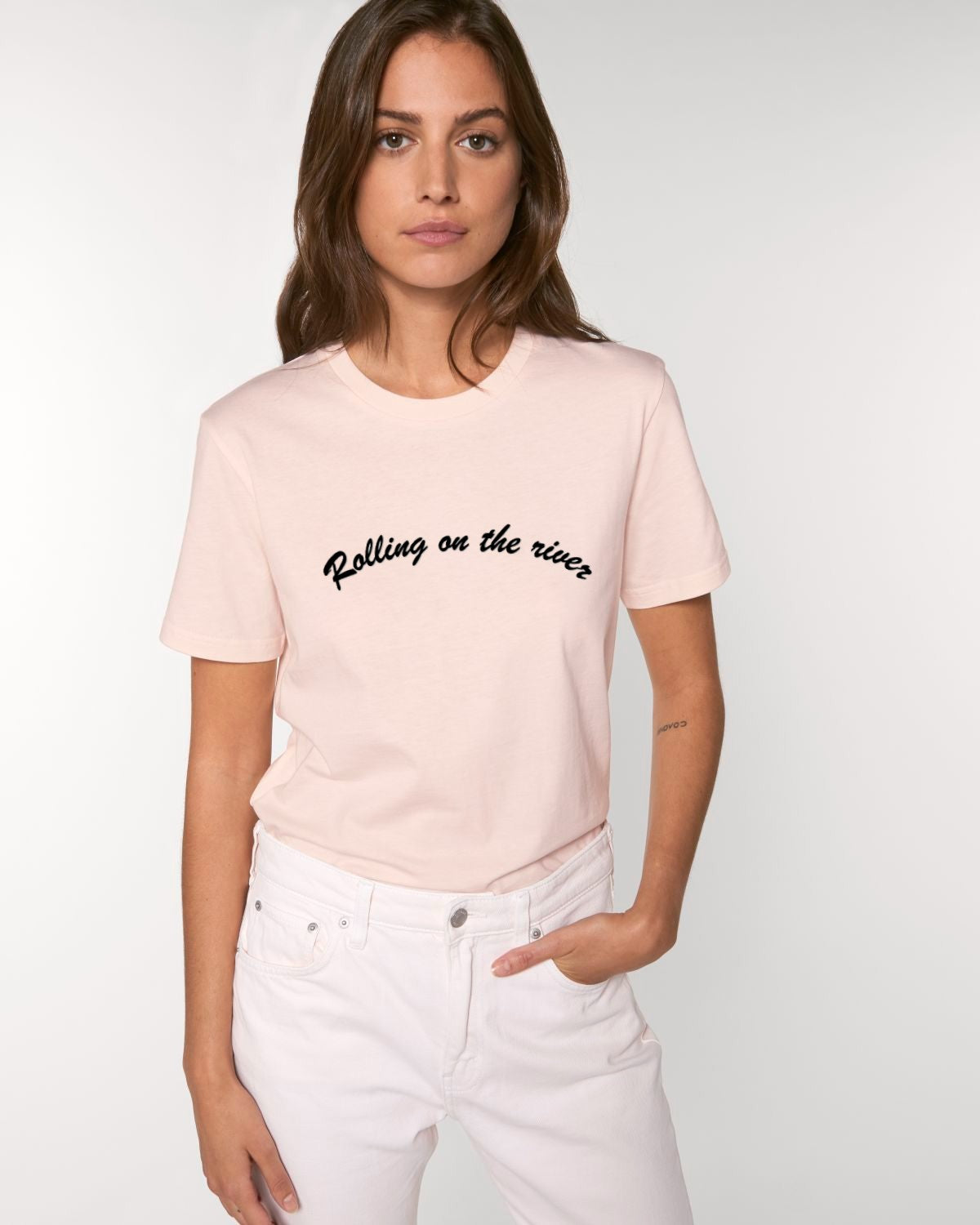 'ROLLING ON THE RIVER' EMBROIDERED WOMEN'S ICONIC MEDIUM ORGANIC T-SHIRT