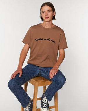 'ROLLING ON THE RIVER' EMBROIDERED MEN'S ICONIC MEDIUM ORGANIC T-SHIRT