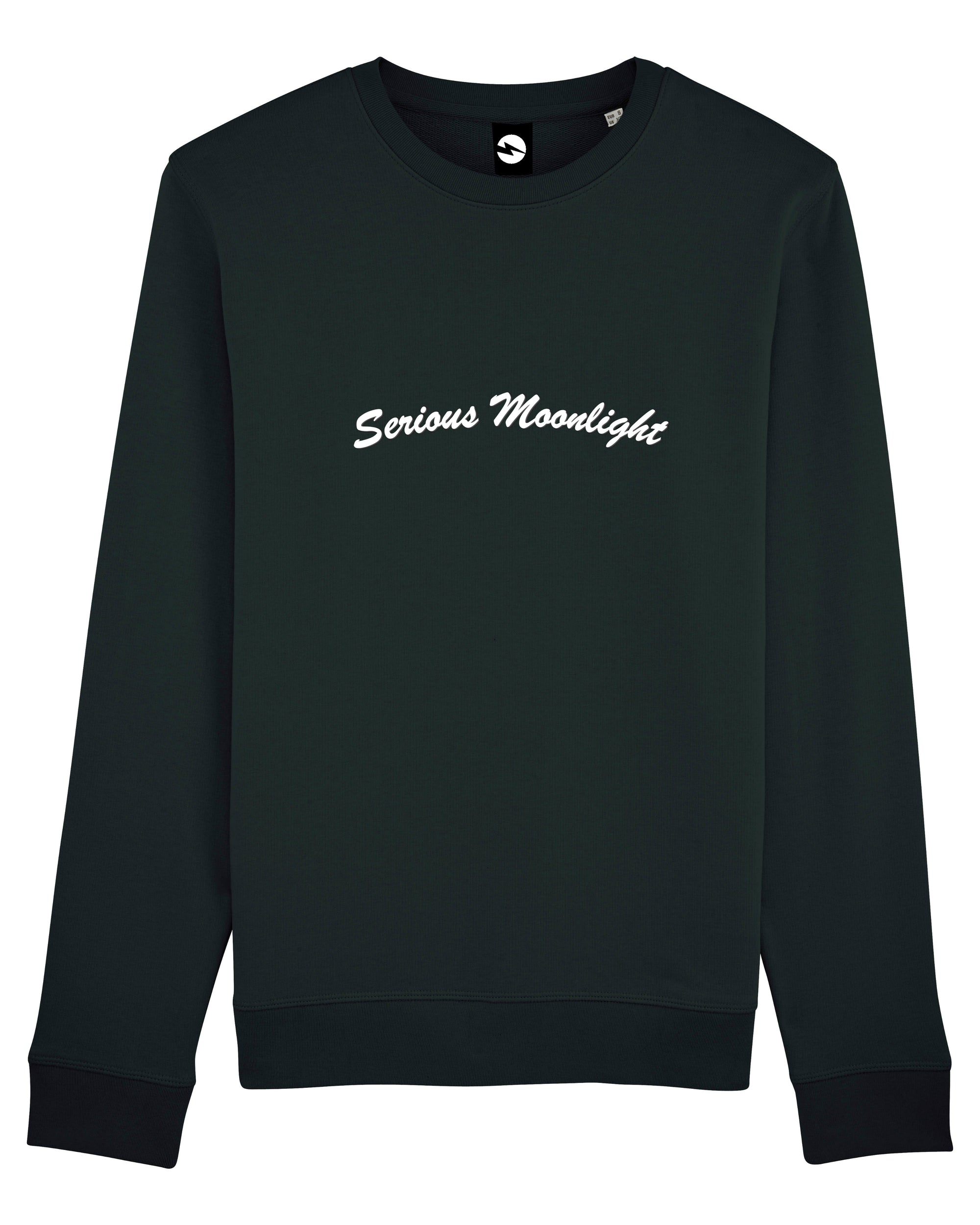 'SERIOUS MOONLIGHT' EMBROIDERED ORGANIC COTTON UNISEX SWEATSHIRT