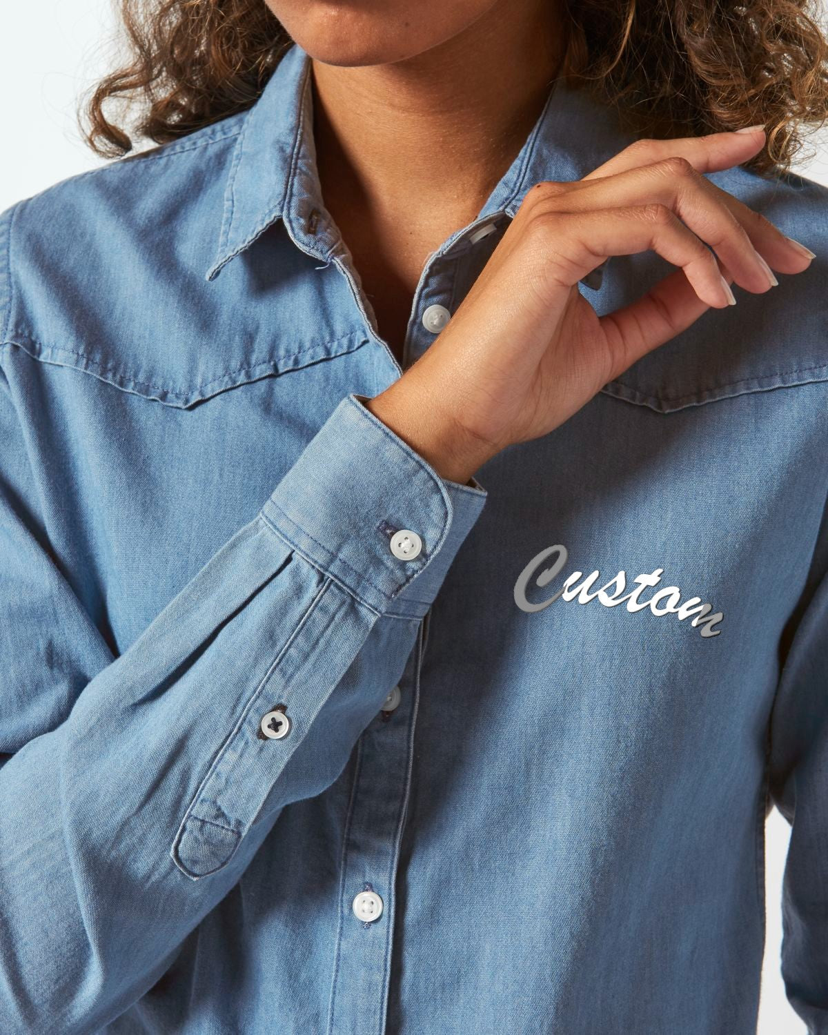 WOMEN'S ORGANIC COTTON 'INSPIRES' FADED DENIM SHIRT - customisable left chest embroidery