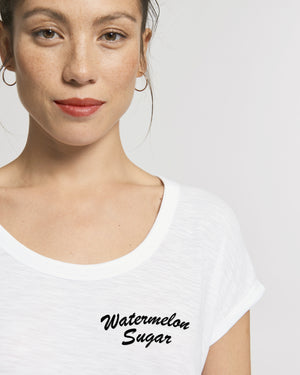 'WATERMELON SUGAR' EMBROIDERED WOMEN'S ROLLED SLEEVE ORGANIC COTTON SLUB T-SHIRT
