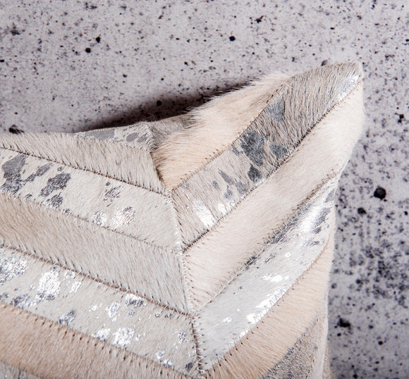 Arizona White Cowhide and Silver Pillow by Déniché Boutique
