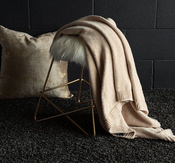 Beige Velvet Dolce Throw