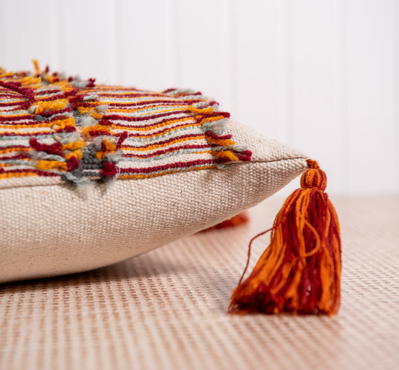 Embroidered Nepal Pillow with Tassels