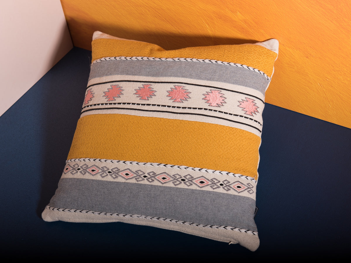 18 x 18 in yellow accent pillow by Déniché Boutique