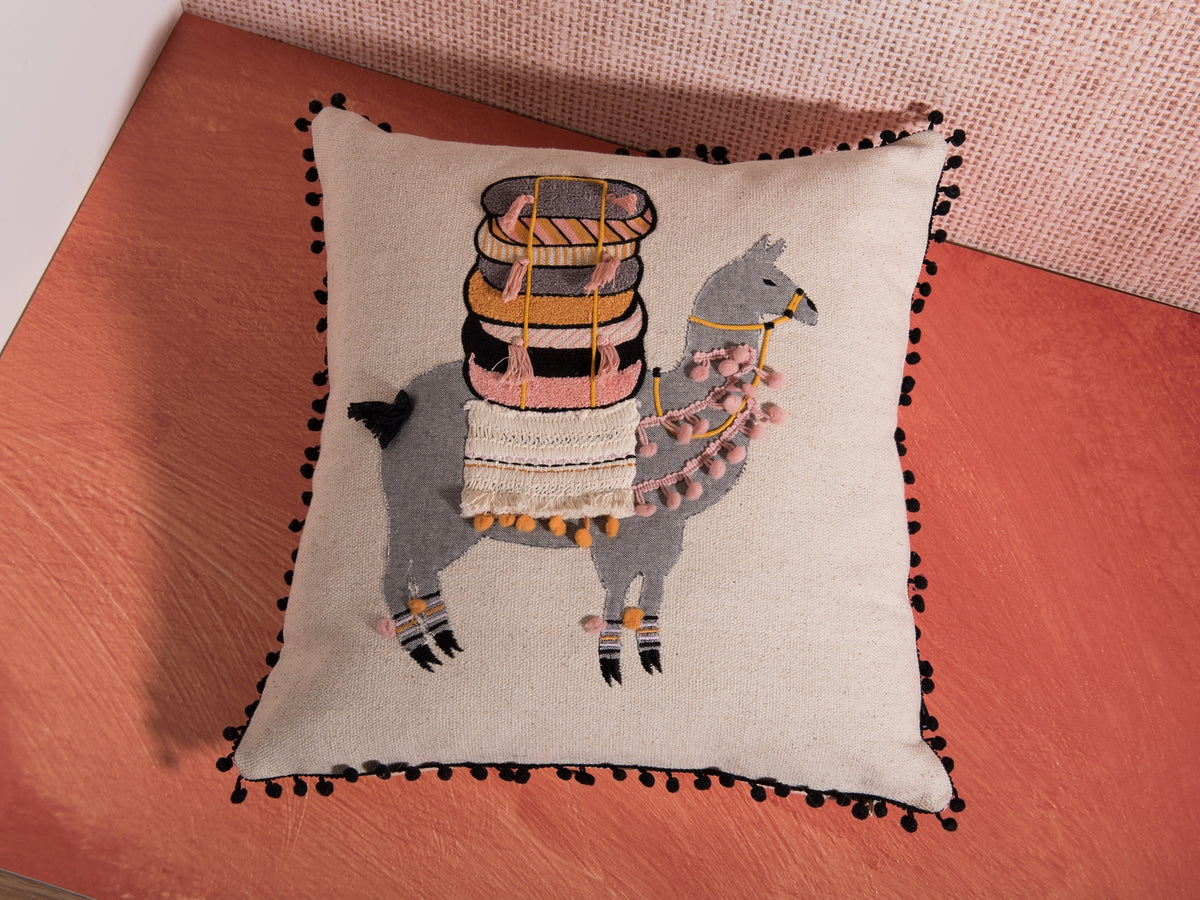 RakiRaki alpaca with tassels decorative pillow by Déniché Boutique