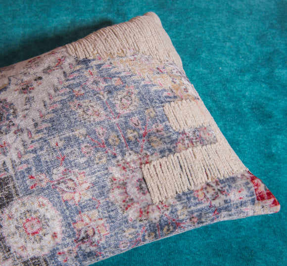 Salem vintage blue and cream velour pillow by Déniché Boutique