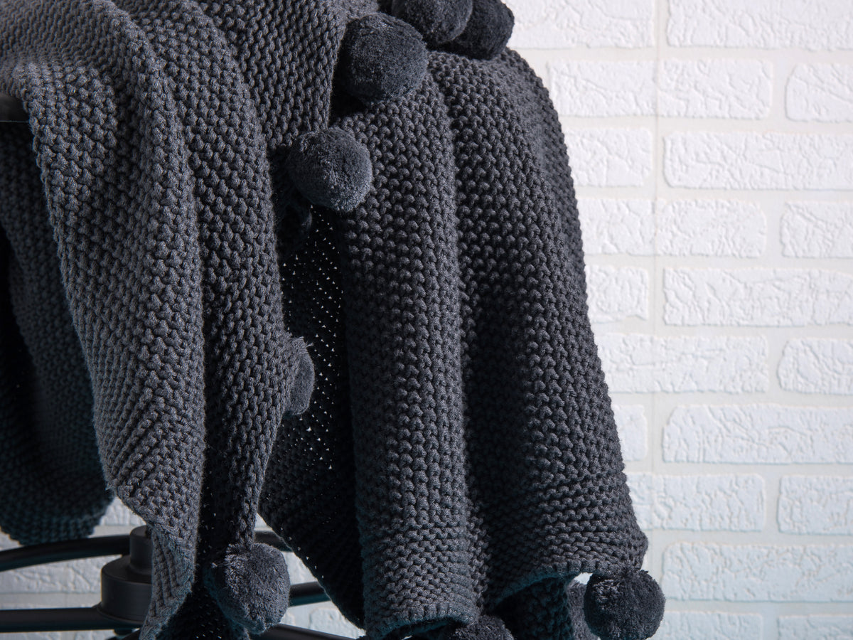 Perito Charcoal Pompoms Throw