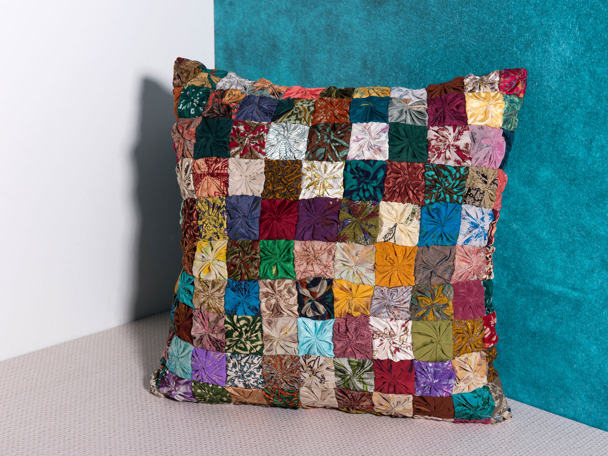 vintage patchwork decorative cushion by Déniché Boutique