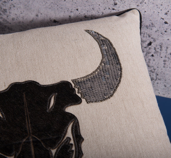 Black and gray bull decor pillow by Déniché Boutique