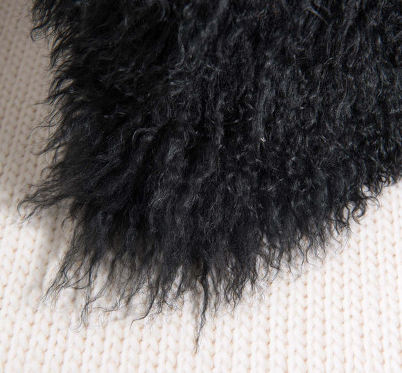 Black Mongolian Fur Trosa Pillow