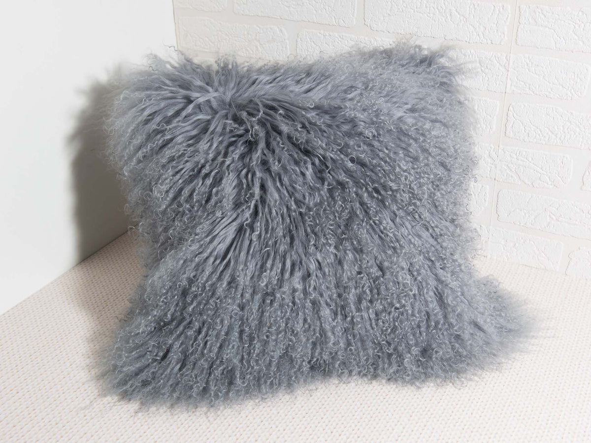 Grey Mongolian Fur Trosa Pillow