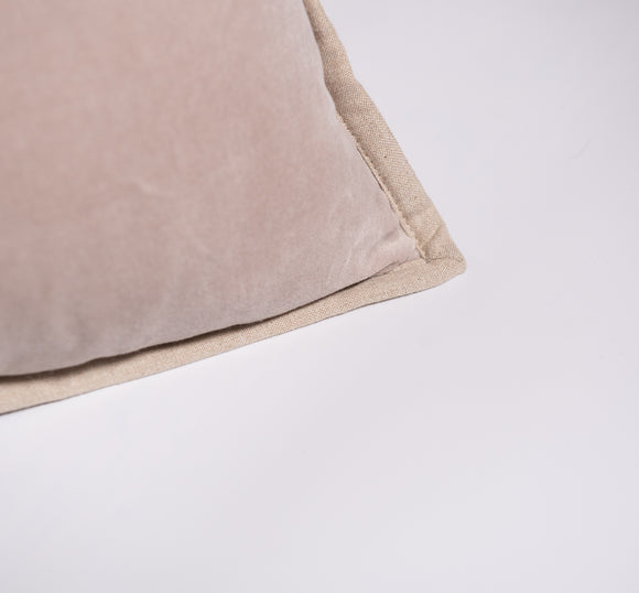 Beige Velvet Oblong Voge Pillow