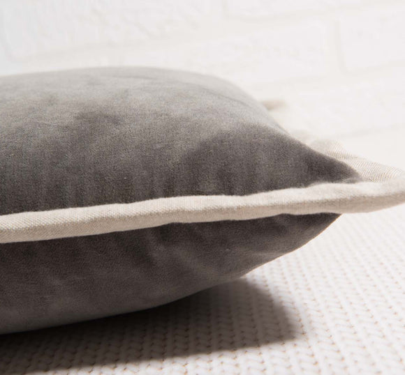 Charcoal Velvet Oblong Voge Pillow
