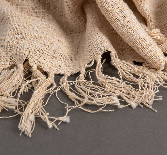 beige yarca throw