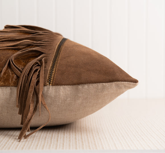 Diego Aged Leather and Suede Pillow