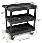 Specifications for Tubstr EC111 Black three tub shelf utility cart Tubster