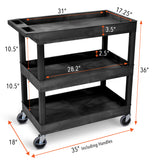 Specifications for Tubstr EC111 Black Utility Cart with Three Tub Shelves Tubster