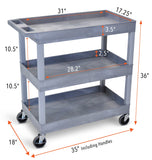 Specifications for EC111 Gray Tubstr 3 tub shelf utility cart Tubster