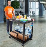 Lifestyle image of the Tubstr utility cart in an office warehouse setting.