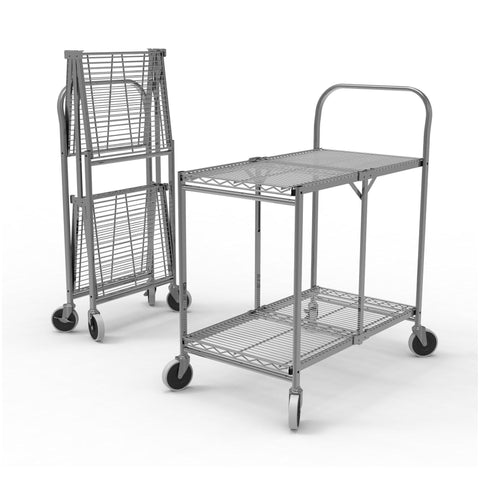 Collapsible 2 Shelf Folding Wire Service Cart | Original Tubstr Utility Carts