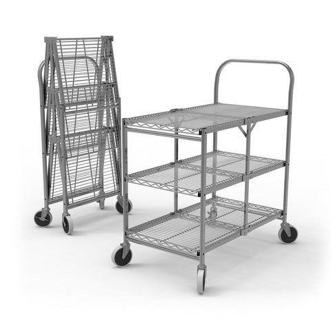 Collapsible 3 Shelf Folding Wire Cart | Tubstr