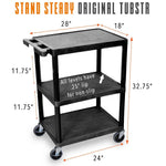 "utility cart measures 28"" x 18"" x 32.25"", with 24"" between wheels and 11.75"" between shelves."