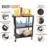 Tubstr utility cart has so many heavy duty features, including flat storage shelves, an ergonomic push handle, locking wheels, heavy duty casters, and high quality polyethylene molding