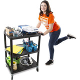 Tubstr by Stand Steady utility cart compact size with three shelves