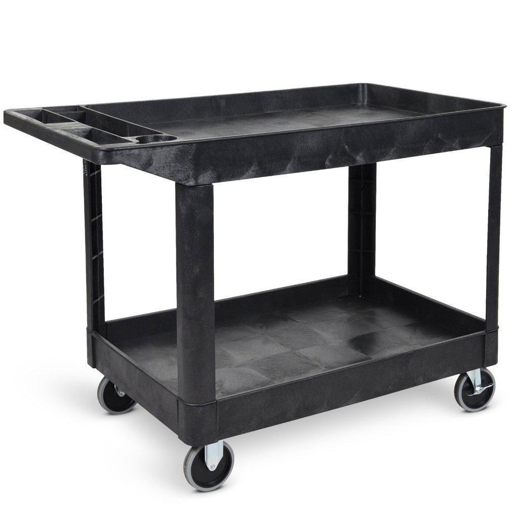Extra Large Utility Cart Two Shelf Rolling Utility Cart / Service Cart
