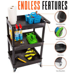This utility cart has so many features, including deep storage shelves, an ergonomic push handle, locking wheels, cord wrap, and high quality polyethylene molding