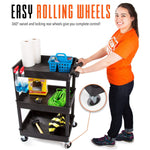 This cart features non-marring, easy rolling wheels that swivel and lock