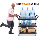 Easily maneuver this utility cart with four swiveling roller wheels and two handles