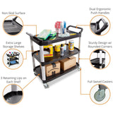 Perfect rolling cart with large shelves, swivel casters, and retaining lips for easy storage