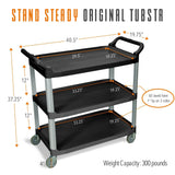 Specifications for Tubstr Serving Cart with 12 inch clearance between shelves