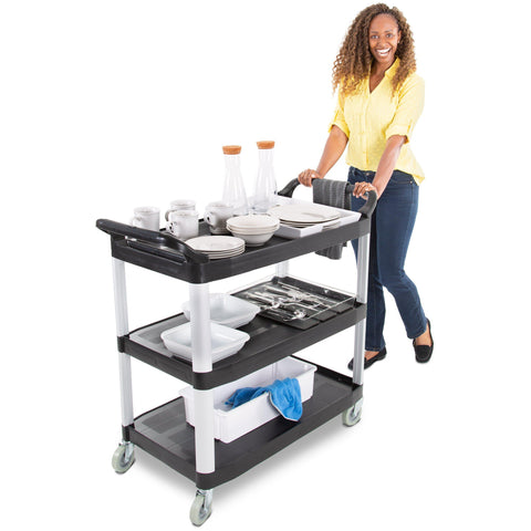 Tubster Serving Cart with three shelves and dual handles by Stand Steady