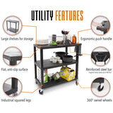 Original Tubster utility cart features 360 degree swivel wheels, ergonomic push handle, and three large industrial shelves